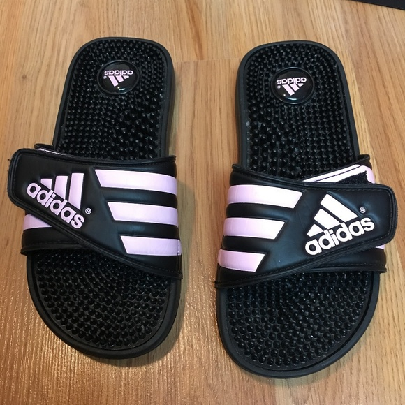 huge selection of 7b378 ccc7f adidas Shoes - Adidas Adissage Slides Black and Pink Size 6
